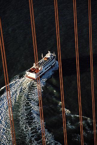 image 1-65-29 California, San Francisco Bay, Red and White fleet under Golden Gate bridge