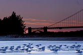 twilight stock photography | California, San Francisco, GGNRA, Tidal marsh at sunset with bridge, Crissy Field, image id 1-75-20