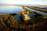 aerial stock photography | California, San Francisco Bay, Alameda Creek, Dredging, image id 1-770-53