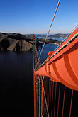 suspension bridge stock photography | California, San Francisco, Golden Gate Bridge from South tower, image id 1-81-5