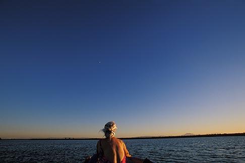 image 1-856-33 California, Delta, Little Potato Slough, Boating at sunset