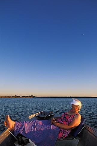 image 1-856-39 California, Delta, Little Potato Slough, Boating at sunset