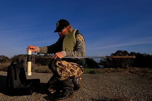 image 1-860-14 California, Sonoma County, San Pablo Bay Nat Wildlife Refuge, water sampling