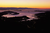 aerial view of downtown at sunset stock photography | California, San Francisco Bay, San Francisco at sunrise from Mount Tamalpais, image id 1-862-94