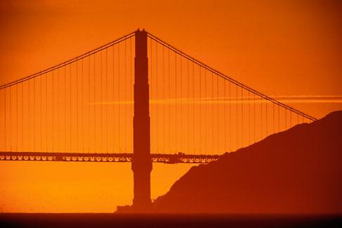image 1-864-51 California, San Francisco Bay, Golden Gate Bridge at sunset