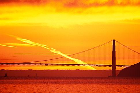 image 1-864-57 California, San Francisco Bay, Golden Gate Bridge at sunset