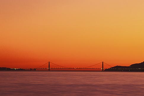 2-152-16  stock photo of California, San Francisco Bay, Golden Gate Bridge at sunset
