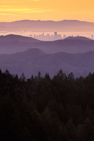 image 2-236-16 California, Marin County, San Francisco and hills from Mount Tamalpais