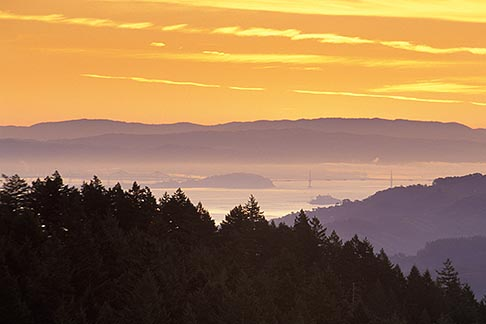 image 2-236-18 California, Marin County, San Francisco and hills from Mount Tamalpais