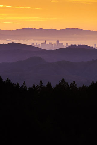 image 2-236-50 Travel landscape scenic, California, San Francisco and hills from Mount Tamalpais
