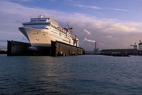 image 2-240-49 California, San Francisco, Port of San Francisco, Cruise ship in dry dock