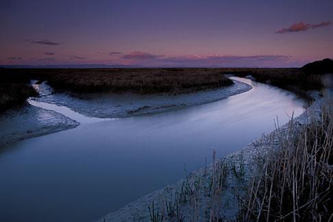 image 2-350-19 California, San Francisco Bay, San Pablo National Wildlife Refuge, slough at sunset