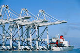 cargo stock photography | California, San Francisco Bay, Port of Oakland cranes arrive from China, image id 2-420-25