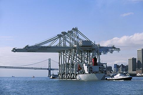image 2-420-29 California, San Francisco Bay, Port of Oakland cranes approaching the Bay Bridge