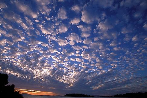 image 2-426-9 California, San Francisco Bay, Sunset over San Pablo Bay from Crockett