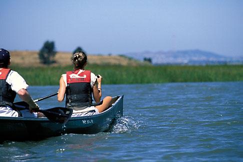 image 2-431-2 California, East Bay Parks, Arrowhead Marsh, Oakland, Canoeing