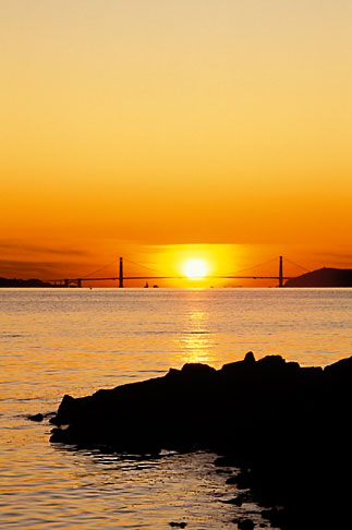 image 3-2-27 California, San Francisco Bay, Golden Gate Bridge at sunset, from Albany