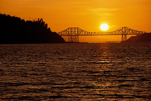 image 4-206-29 California, Benicia, Carquinez Bridge at sunset
