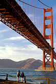 two people stock photography | California, San Francisco, Golden Gate Bridge from Fort Point, image id 4-504-33