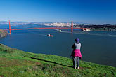one woman only stock photography | California, Marin County, Golden Gate Bridge and San Francisco from Headlands, image id 5-100-13