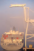 fog stock photography | California, Oakland, Container ship & crane, Port of Oakland, Inner Harbor, image id 5-110-4