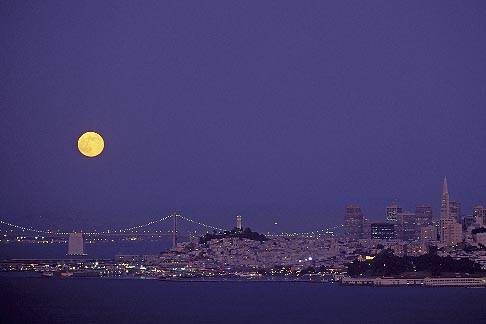 image 5-312-19 California, San Francisco, Moon with Bay Bridge and Coit Tower