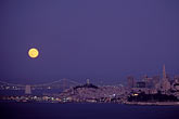 horizontal stock photography | California, San Francisco, Moon with Bay Bridge and Coit Tower, image id 5-312-19