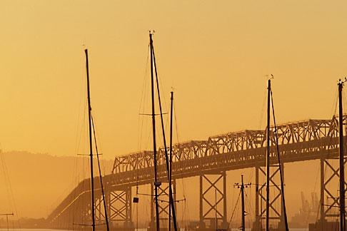 image 5-313-24 California, San Francisco, Bay Bridge at dawn from Treasure Island
