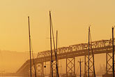 gold stock photography | California, San Francisco, Bay Bridge at dawn from Treasure Island, image id 5-313-24