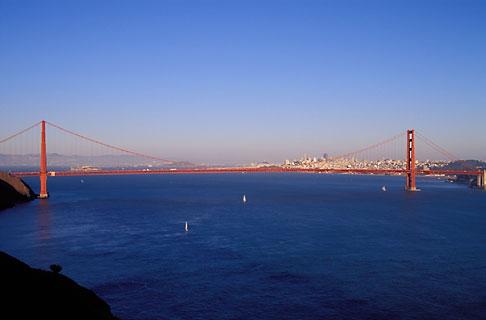 image 5-365-36 California, San Francisco Bay, Golden Gate Bridge from Marin Headlands