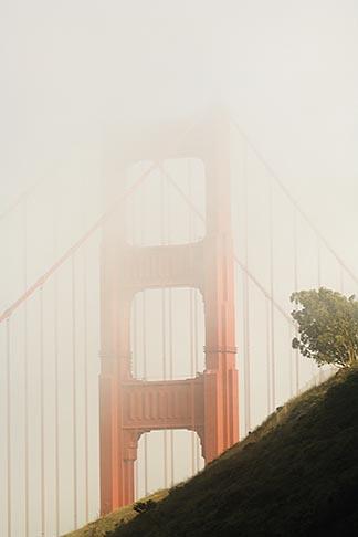 image 5-740-67 California, San Francisco Bay, Golden Gate Bridge in fog