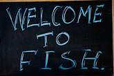horizontal stock photography | Signs, Welcome to Fish, image id 5-745-92