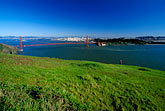 san francisco skyline from the water stock photography | California, Marin County, Golden Gate Bridge and San Francisco from Headlands, image id 5-99-24