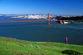 one woman only stock photography | California, Marin County, Golden Gate Bridge and San Francisco from Headlands, image id 5-99-30