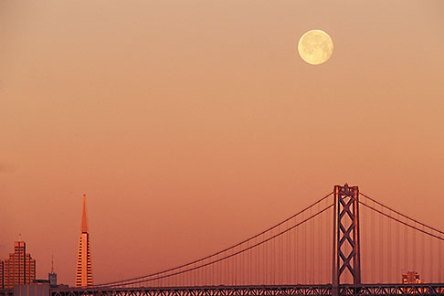 image 6-114-24 California, San Francisco, Moonset over Bay Bridge