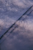 angle stock photography | California, Benicia, Aerial view of Benicia Bridge in fog, image id 6-364-1