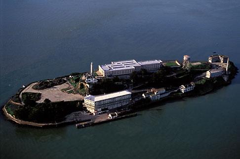 image 6-372-2 California, San Francisco Bay, Alcatraz Island from the air