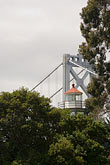 yerba buena lighthouse and bay bridge stock photography | California, San Francisco Bay, Yerba Buena Lighthouse and Bay Bridge, image id 6-440-5293