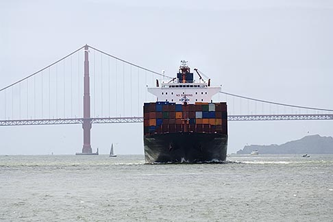 image 6-440-5346 California, San Francisco Bay, Container ship and Bay Bridge