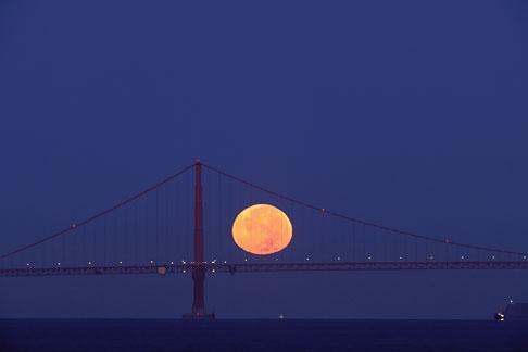 image 7-463-30 California, San Francisco Bay, Moon behind Golden Gate Bridge