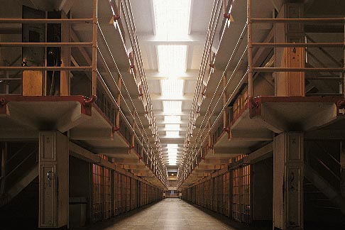 image 7-474-7 California, San Francisco Bay, Cellhouse interior, Alcatraz, GGNRA