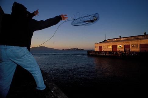 image 8-422-16 California, San Francisco, Fishing for Crabs, Fort Mason Pier