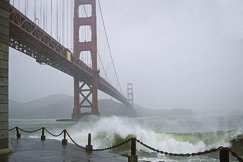 image 8-68-21 California, San Francisco, Golden Gate Bridge in storm
