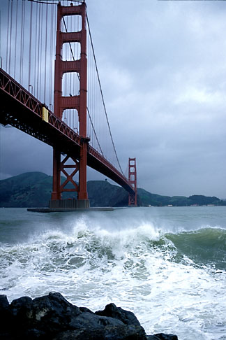 image 8-68-31 California, San Francisco, Golden Gate Bridge in storm