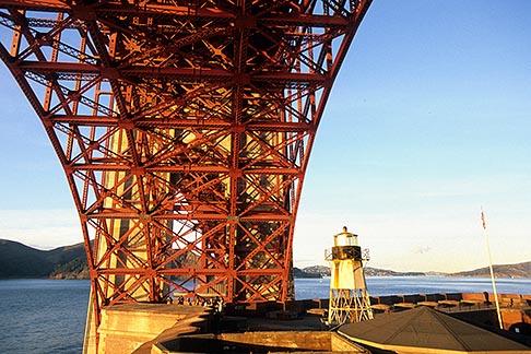 image 8-720-69 California, San Francisco, Fort Point lighthouse beneath Golden Gate Bridge