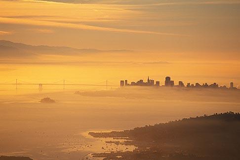 image 9-10-4 California, San Francisco, City at dawn from Mt Tamalpais