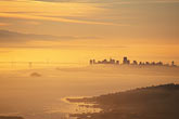 aerial view of downtown at sunset stock photography | California, San Francisco, City at dawn from Mt Tamalpais, image id 9-10-4