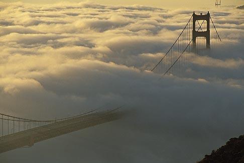 image 9-593-27 California, San Francisco Bay, Golden Gate Bridge in fog
