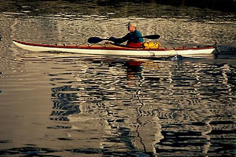 image 9-599-21 California, San Francisco, Kayaker and reflections, Marina