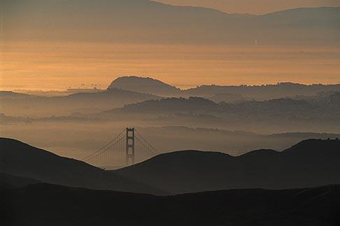 image 9-6-2 California, Marin County, Golden Gate bridge tower at dawn